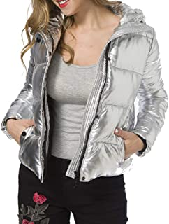 Howely Womens Short Thickened Relaxed Fit Hooded Silver Warm Padded Coat