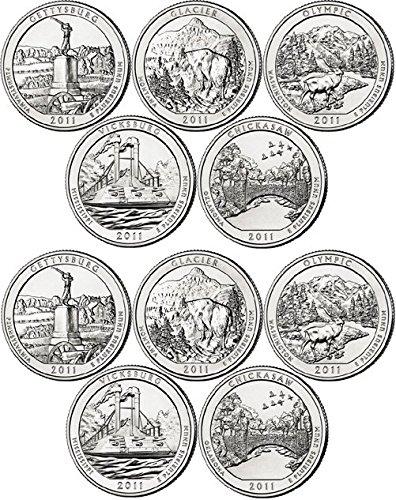 2011 Various Mint Marks National Parks Set P & D Mints (10 Coins) Uncirculated