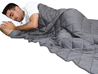 MANLINAR 20lb Weighted Blanket for Adult Weigh 180lbs-220lbs, 60''x80'' Queen/King Size Heavy Blanket, 100% Natural Cotton with Premium Glass Beads, Gray