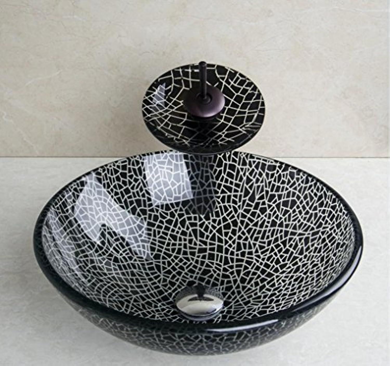 AllureFeng Europische handbemalte gehrtetes Glaswaschbecken mit Mixer Set schwarz   wei modernes Bad temperot Glas Waschbecken-Set zu knacken