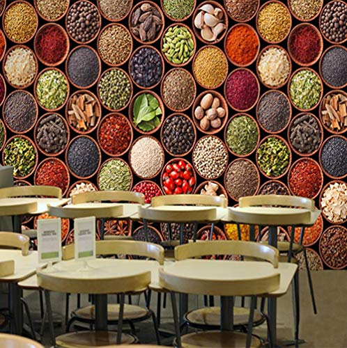 muurschildering op maat 3D niet-geweven stof milieuvriendelijk en duurzaam behang muursticker - heerlijke kruiden op houten bord 450(w)x300(H)cm