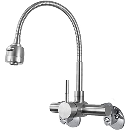 """Wall Mount Faucet Kitchen 4"""",6"""" , 8"""" Inch Center Brushed Nickle Single Handle Sprayer Mixer Stainless Steel Constructed Bar Tap"""