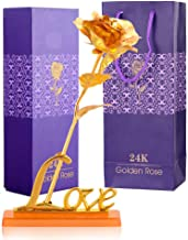 INTERNATIONAL GIFT Gold Rose 25 cm with Love Stand and Carry Bag (25 cm, Red)
