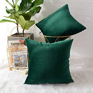 MERNETTE New Year/Christmas Decorations Velvet Soft Decorative Square Throw Pillow Cover Cushion Covers Pillowcase, Home Decor for Party/Xmas 18x18 Inch/45x45 cm, Dark Green, Set of 2