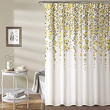 Lush Decor Lush Décor Weeping Flower Shower Curtain, 72  x 72 , Yellow/Gray