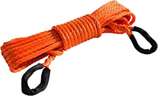 """3/8"""" 50ft Winch Rope Extension,10mm ATV Winch Cable, Synthetic Rope,Towing Rope for Offroad Auto Parts (Orange)"""