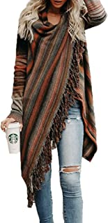 Women's Wrap Long Cardigans Stripes Long Sleeve Tassels Asymmetrical Hem Sweater Coats