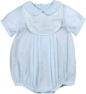 Petit Ami Baby Boys` Romper with Embroidered Sailboat Bib, Blue