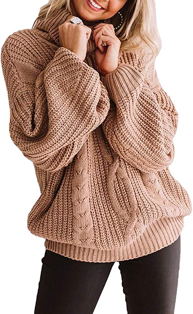 Womens Oversized Chunky Turtleneck Sweaters Plus Size Long Sleeve Cable Knit Casual Loose Pullover Jumper Tops