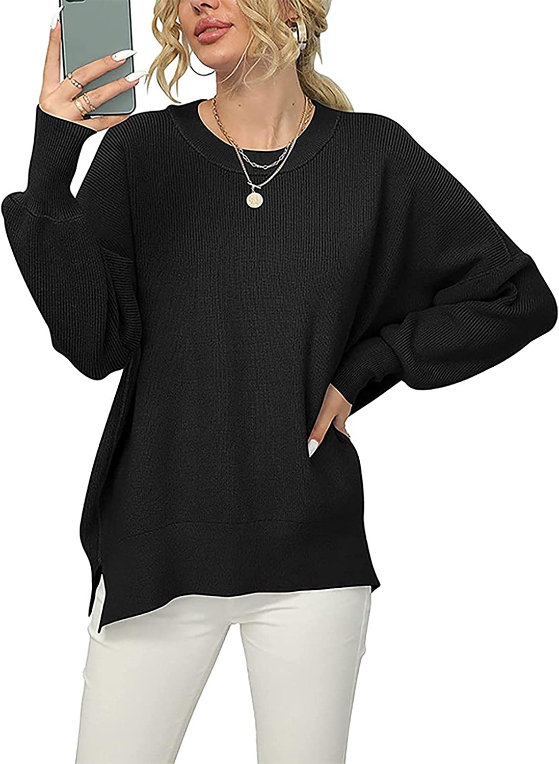 YQRDSHJS Sexy Soft Comfy Sweaters For Women Side Split Rib Knit Pullover Loose Lazy V-Neck Cardigan Sweater Jumper