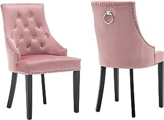 Neo® 4 sillas de comedor de terciopelo con tachuelas de respaldo alto (rosa)