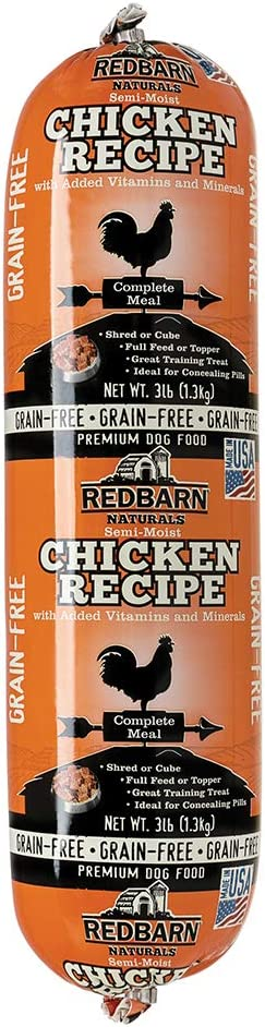 Redbarn Grain-Free 3lb Rolled Food (Beef and Chicken) | Natural Ingredients with Added Vitamins & Minerals - Shelf Stable Food, Topper or Training Reward | Made in USA