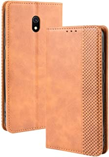 Yhuisen PU Leather+Soft Inner Design Business Magnetic Closure Flip Wallet Case Cover Compatible with Redmi 8A (Color : Br...