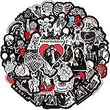 XXCKA50 Blanco y Negro gótico Cool Skull Motocicleta Personalidad Punk Graffiti Pegatinas Mac Impermeable Cinta para portátil