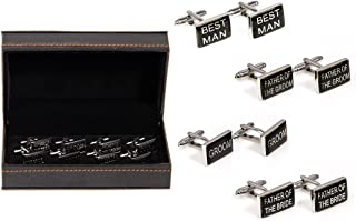 Wedding Party Groom Best Man Father of Bride/Groom 4 Pairs Cufflinks in a Presentation Gift Box