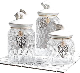 Bocaux Hermetiques Alimentaires Bocal verre avec couvercle sac de rangement pavillon de bonbon bocal buffet table de café ...
