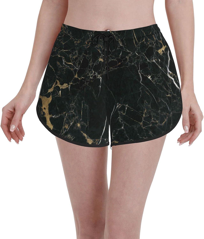 Janrely Comfortable Casual Board Shorts for Women Girls,Black Marble,Quick Dry Swim Trunks Beach Wear Sportswear,S