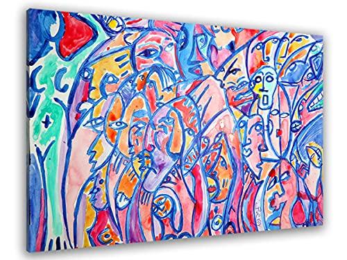 Hexoa Cuadro abstracto la Noche Caliente – Hecho en Francia – Cuadro de cristal acrílico – 50 x 30 cm