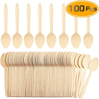 WFPLUS 100 Pcs Disposable Wooden Spoons Natural Bamboo Sppons Biodegradable Disposable Sppons(6.5