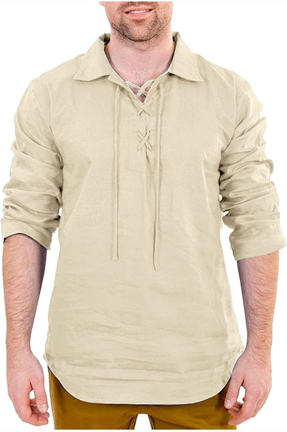 WOCACHI Henley Shirts for Mens, Lace-up Turn-down Collar Solid Casual Shirt Long Sleeve Drawstring Comfy Tee Tops