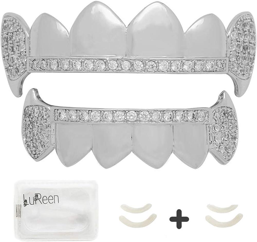 LuReen Gold Teeth Grillz Diamond Pave CZ 6 Top Bottom Grills for Men Women + Extra 2 Molding Bars