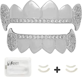 LuReen Gold Silver Vampire Fangs Pave CZ 6 Top and Bottom Grills Teeth Sets + Extra 2 Molding Bars