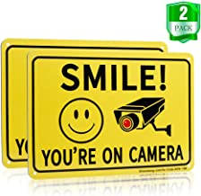 Sheenwang Smile You're on Camera Sign, Video Surveillance Signs Outdoor, UV Printed .040 Mil Rust Free Aluminum 10 x 7 in, Security Camera Sign for Home, Business, Driveway Alert, CCTV