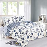 Great Bay Home 2 Piece Quilt Set with Shams. Soft All-Season Microfiber Bedspread Featuring Attractive Seascape Images. Machine Washable. The Catalina Collection (Twin, Navy)