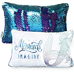 Mermaid pillow with color change sequins.