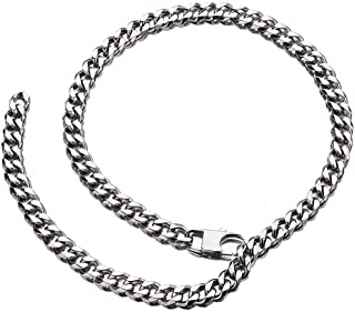 Jxlepe Womens Mens Cuban Link Chain Style 10mm Adjustable Choker Leash Hip Hop Shin Light Slim Miami Stainless Steel Curb Necklace