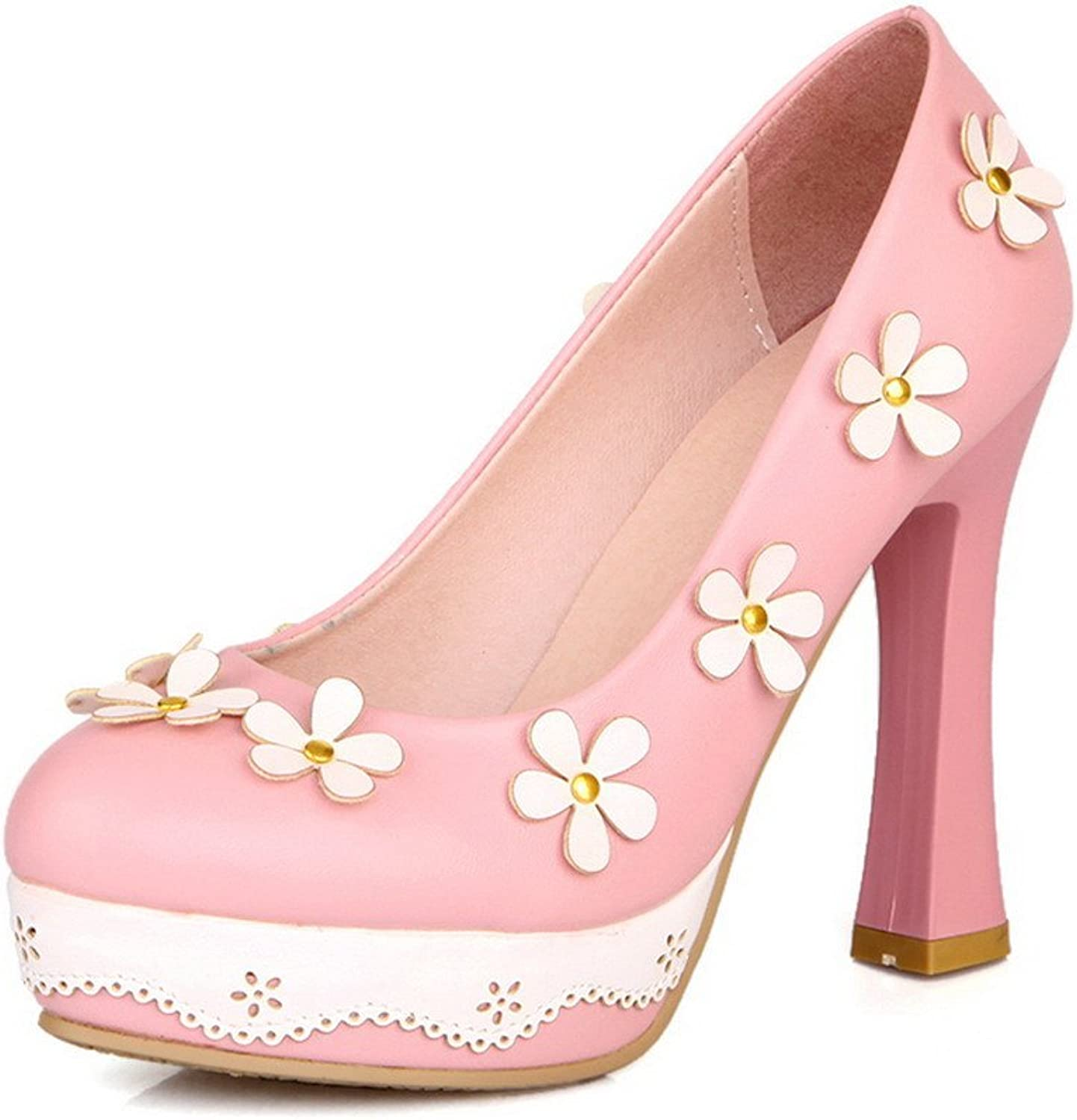 WeiPoot Womens Closed Round Toe High Heel Soft Material PU Solid Pumps with Flowers