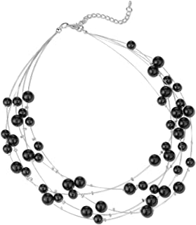 Choker Layered Chain Pearl Necklaces Multi-Strand Beaded Necklaces for Women Dainty Handmade Beads Jewelry