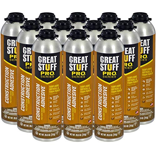 GREAT STUFF PRO Construction Adhesive for Wall & Floor - 26.5oz Polyurethane Foam Adhesive for Subfloors, Drywall & Foam Panels. One Component, Off White, Pack of 12. Applicator Gun Not Included