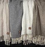 Eikei Wool Throw Blanket Geo Diamond Pattern Oversized Couch Throw Blanket Fringe Trim Soft Merino Woolen Afghan Minimalist Style Lightweight Machine Washable (Light Grey, 55Wx78L)