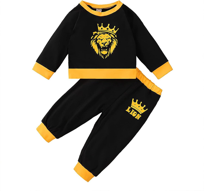 Newborn Baby Boys Lion Tracksuit Sweatsuit Toddler Pullover Sweatshirt Tops Sweatpants 2 PCs Outfit