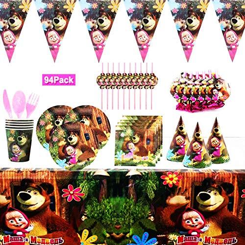 YUIP 94 Piezas Masha y el oso Tema Suministros Vajilla de Fiesta Set, Juego Vajilla Fiesta Cumpleaños Papel, Platos Mantel Servilletas Vajilla Cumpleaños Decoracion para Niños