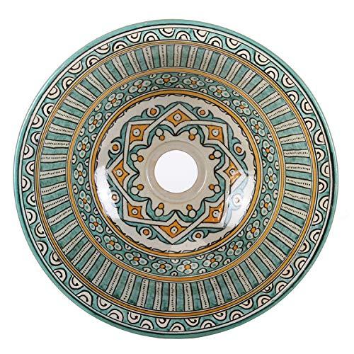 Casa Moro Orientalisches Keramik-Waschbecken Fes111 Ø 35 cm bunt rund   Marokkanisches Handwaschbecken handbemalt für Küche Badezimmer Gäste-Bad   Einfach schöner   WB35111