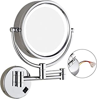 LED with Wall-Mounted Double-Sided Make-up Mirror Bathroom Folding Telescopic Beauty Mirror 3 Times Magnifying Glass HD 360 Rotating Makeup Mirror