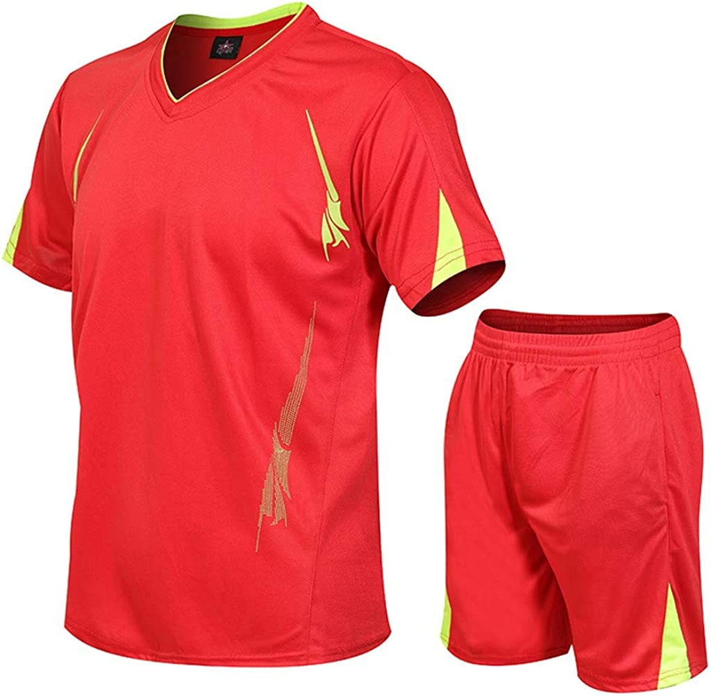 Men's Casual Fitness Shorts Pants and Shirt Set, Football T Shirts and Short Set Tracksuit 2 Piece Outfit Set