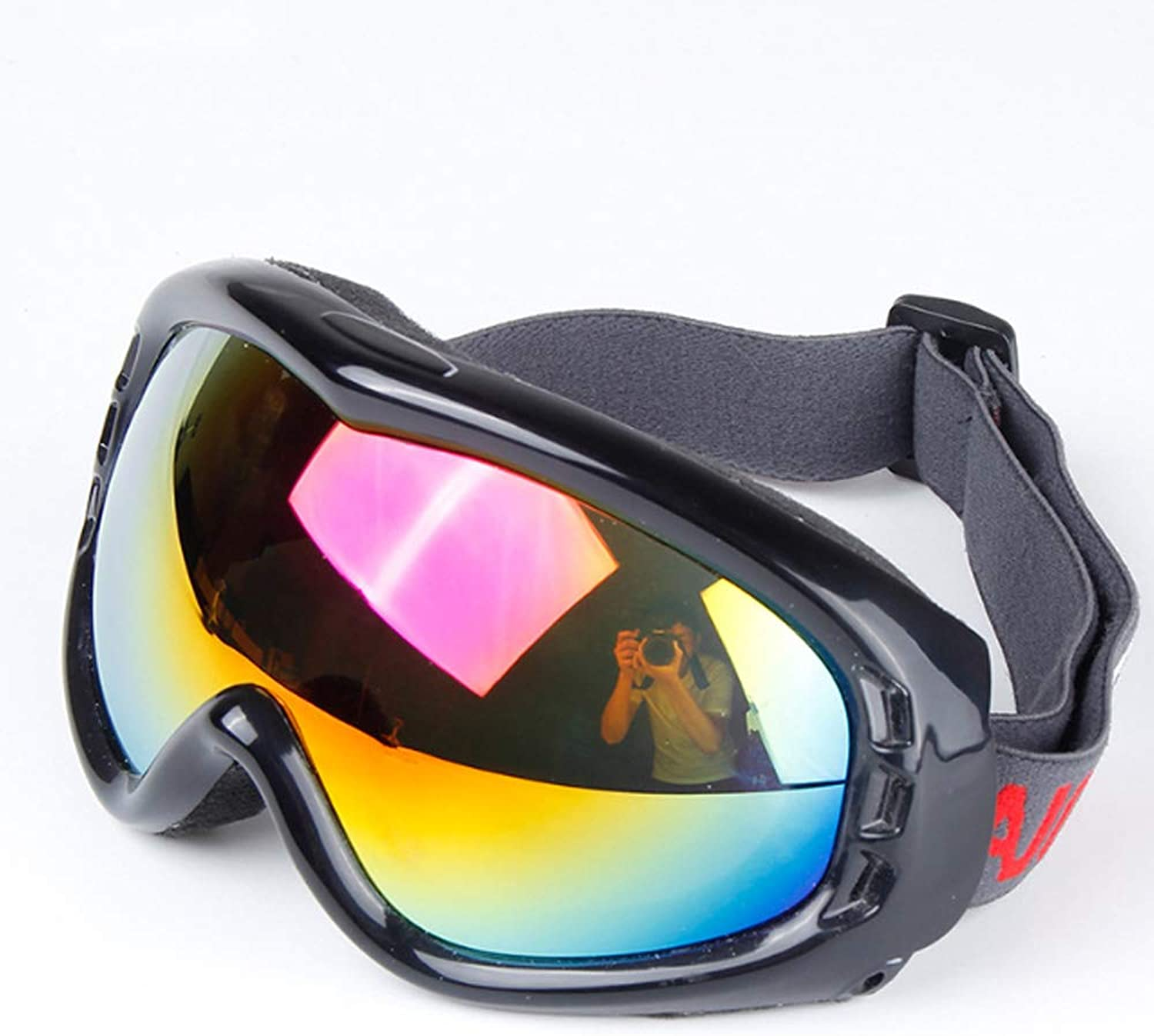 Ski Goggles for Men and Women, Mountaineering Goggles SingleLayer Spherical Windshield Snow UV Predection,Brightblack