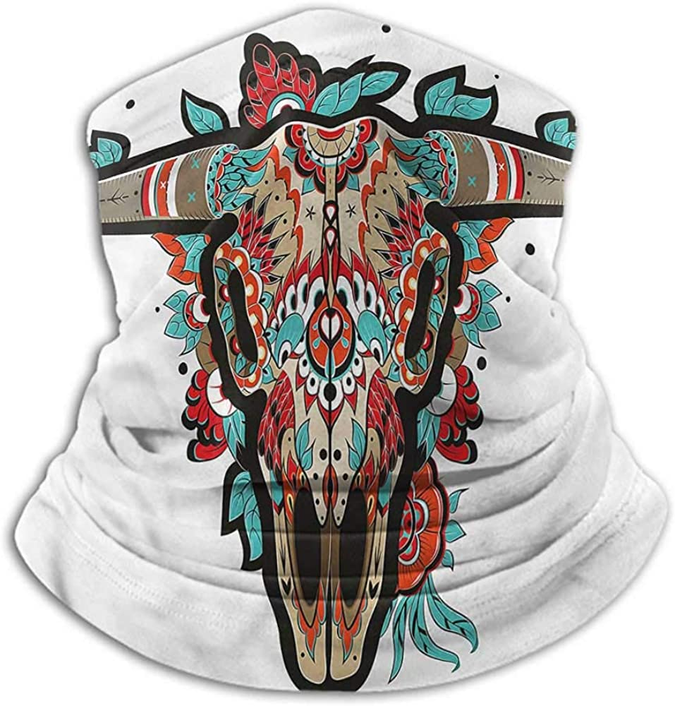 Neck Gaiter Western For Running, Skiing, Snowboarding Buffalo Sugar Mexican Skull 10 x 12 Inch