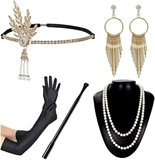 SATINIOR 1920s Costume Accessories Fancy Dress Pearl Beads Necklace Long Gloves and Plastic Holder Set Red and Black