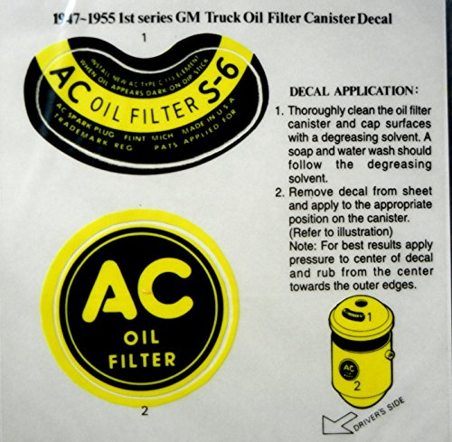 1947 1948 1949 1950 1951 1952 1953 1954 1955 Chevrolet 1st Series Truck & Pickup GM AC OIL FILTER CANISTER DECAL 2pc SET - STICKER - CHEVY