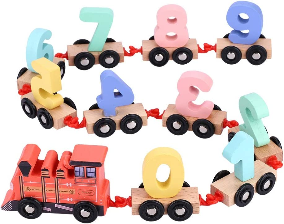 Garosa Wooden Train Set Train Vehicle Blocks Toys Kit with 10pcs Number Cognitive Blocks for Kids Toddler Boys and Girls Cognitive Education Red