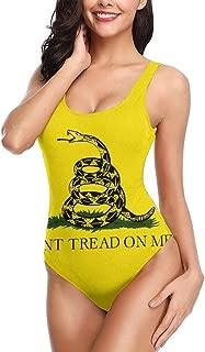 Don't Tread On Me Gadsden Flag Women's One Piece Swimsuits Low Back Bathing Suit Bikini Swimwear
