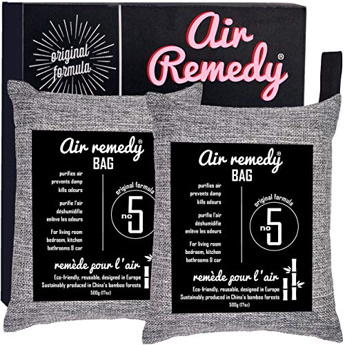 Air Purifying Bag, Activated Bamboo Charcoal – 500g x 2, Natural Air...