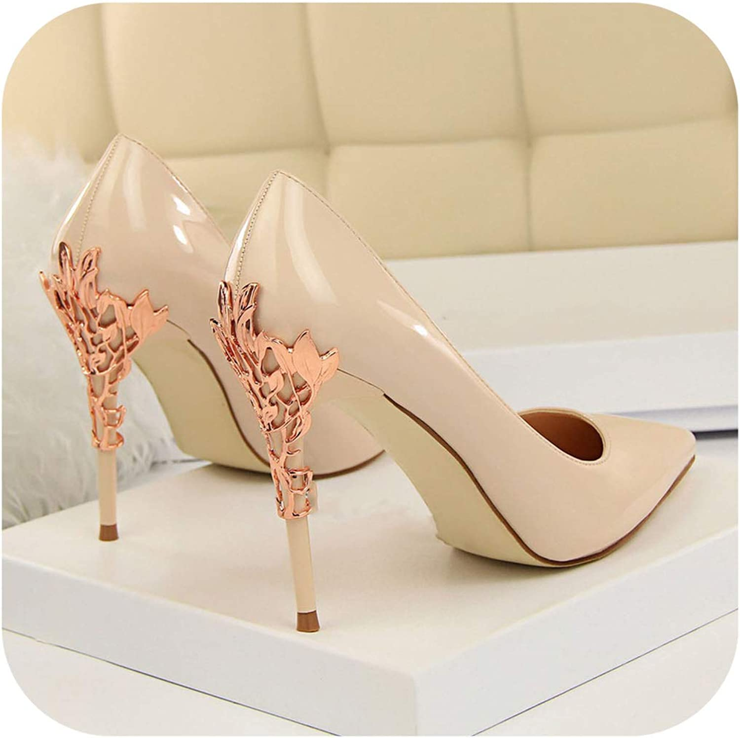 Spring Women Sexy High Heels Pumps Pointed Toe Heels gold White Wedding shoes Female Prom shoes