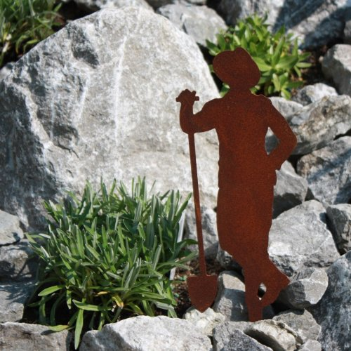 SAREMO Rost Figur Gärtner Paul mit Schaufel ca. H 21 cm + Spieß