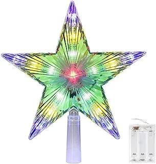 CrazyFire Christmas Tree Topper 9.8 Inch Led Star Treetop, LED Christmas Pentagram Light Decorative Christmas Light (AA Battery Powered)