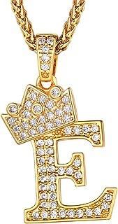 Colgante Oro baño 26 Inicial Burbuja A-Z Corona Latón Diamantes Artificial Incrustacion CZ, Color Dorado Negro Plata Nombre Apellido Abecedario, Ajustable Cadena para Mujer Hombre